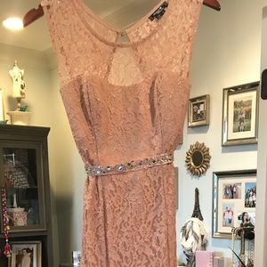 Sequin Hearts Pale Blush Long Gown with Belt